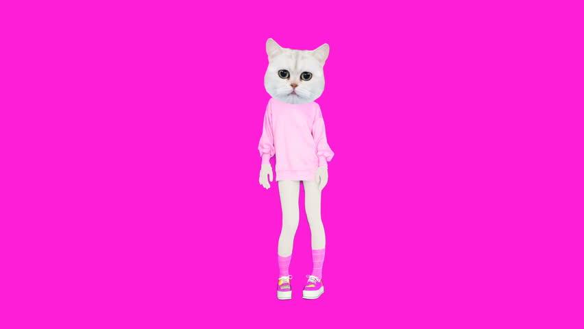 Gif animation art. Kitty pink vanilla mood | Shutterstock HD Video #1026275087