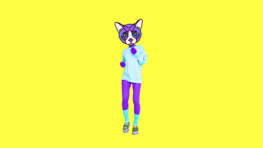 Animation minimal gif art. Kitty sport power girl #1026275144