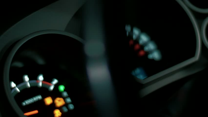 Tachometer and speedometer measure the speed of a fast-driving car, an increase in speed on the dashboard
