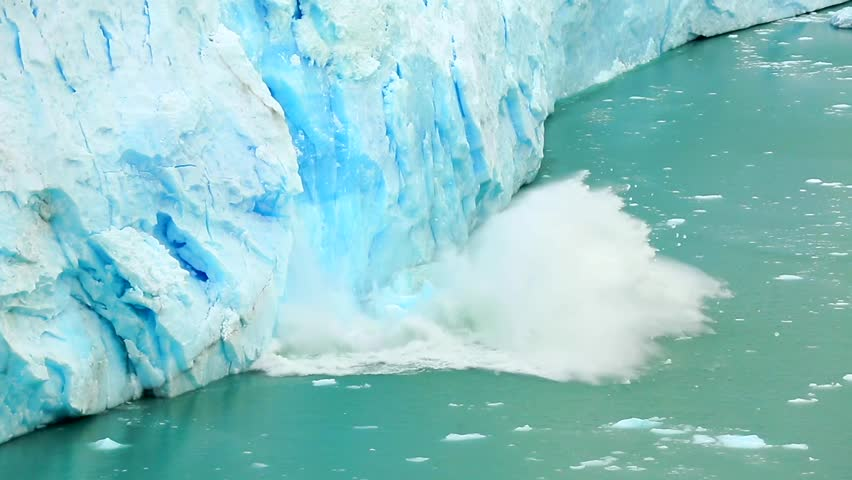 The movement of the glacier, which gives the lake Argentino huge blocks of ice. Ice detaches and falls into the Icebergs Channel.