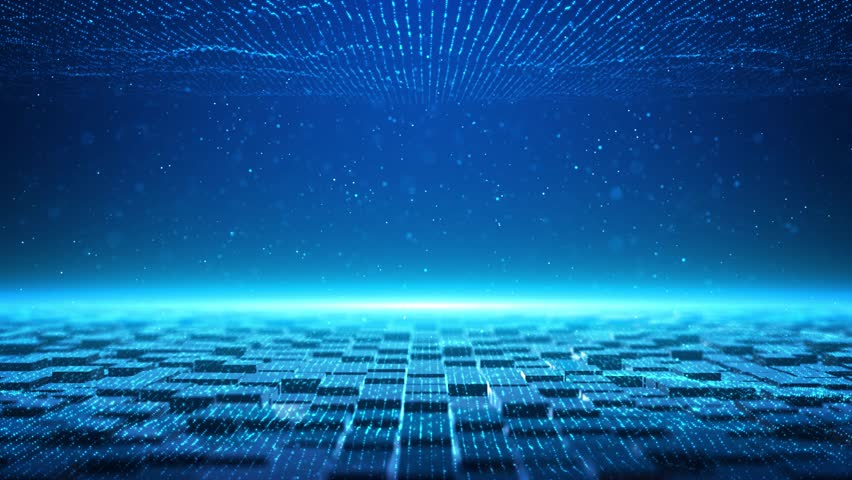 The blue tech particles background is a spectacular motion graphics background. blue squares constantly moving, blue light particles, high tech square particles background, future digital tech video. | Shutterstock HD Video #1026298778