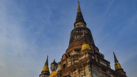 Timelapse , Wat Yai Chai Mongkol in Ayutthaya, Thailand