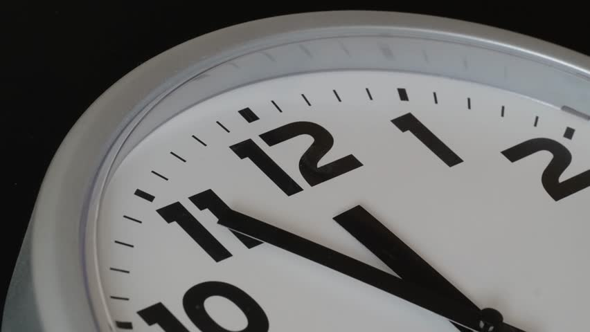 Modern Clock Face Fast Time Lapse. modern clock ticking accelerated time.Time flies moving fast forward in this time lapse.Clock face running out in high speed.