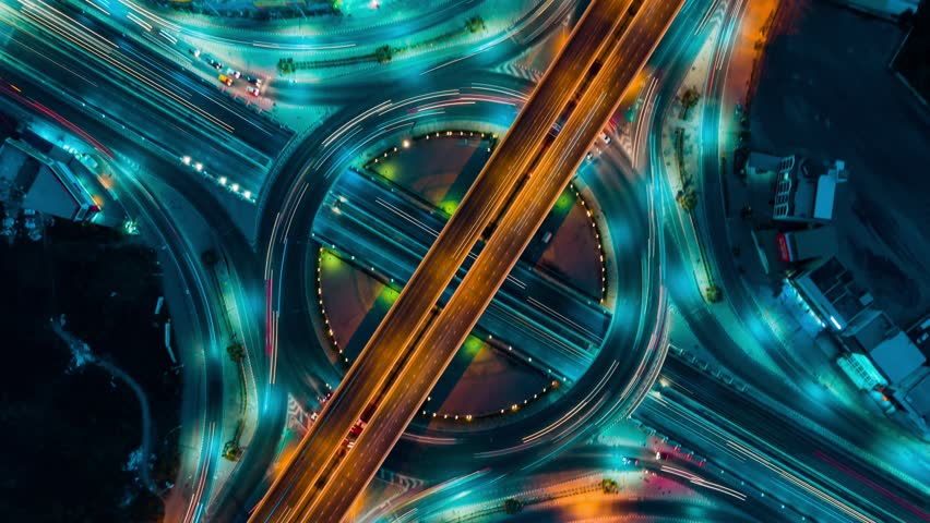 Expressway top view, Circle Road traffic an important transport in Bangkok Thailand | Shutterstock HD Video #1026343712