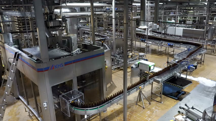 Moscow, Russian Federation – October 21, 2017: Beer factory interior with a lot of machines #1026344102
