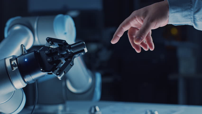Futuristic Robot Arm Touches Human Hand in Humanity and Artificial Intelligence Unifying Gesture. Conscious Technology Meets Humanity. Concept Inspired by Michelangelo's Creation of Adam #1026344129
