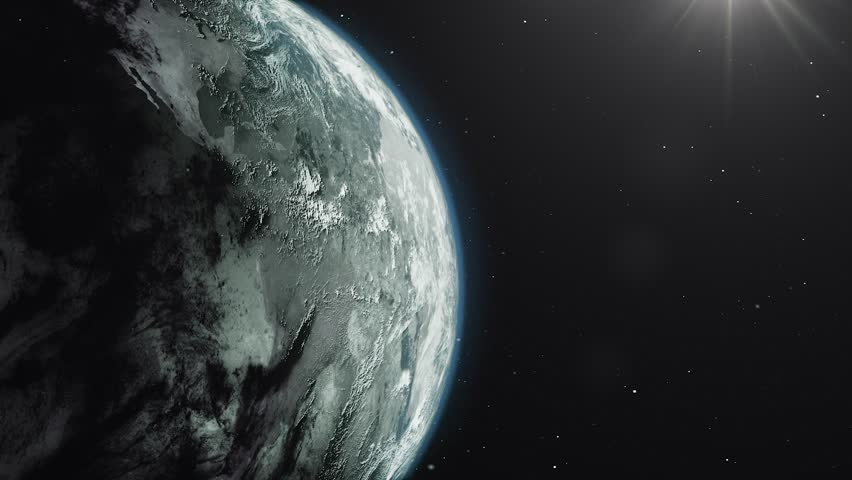 Beautiful sunrise world skyline. Planet earth from space. Planet earth rotating animation. Clip contains space, planet, galaxy, stars, cosmos, sea, earth, sunset, globe. 4k 3D Render. Images from NASA | Shutterstock HD Video #1026352502