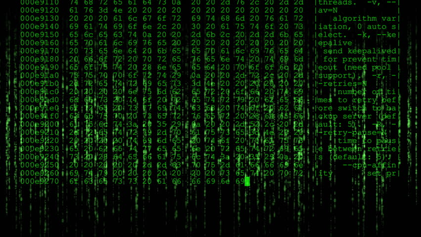 Matrix style background effect with a crypto miner hex dump overlay - Green. | Shutterstock HD Video #1026357554