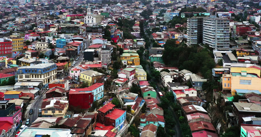 Aerial drone Timelapse of colorful houses on the hills in Valparaiso, Chile