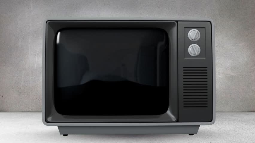 Digital animation of an old TV with animation of buildings on screen agaisnt grey wall | Shutterstock HD Video #1026418406