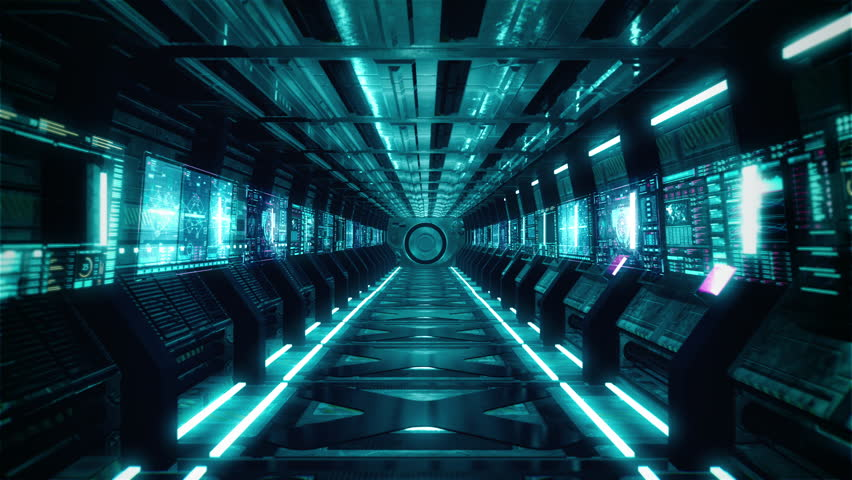 Flying in Futuristic Spaceship Tunnel. Spaceship corridor. | Shutterstock HD Video #1026418715