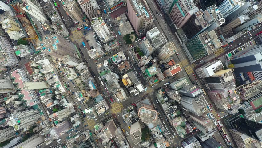 Mong Kok, Hong Kong 21 March 2019: Top view of Hong Kong city #1026432281