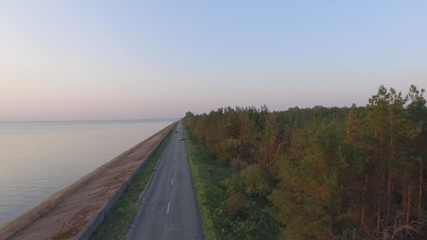 Kiev reservoir. Kiev Sea. Road. Copter shooting | Shutterstock HD Video #1026434390