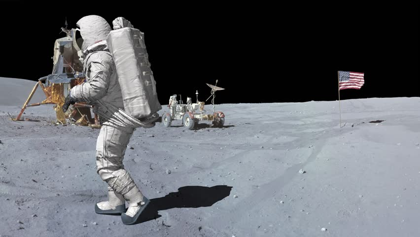 Moonwalk dancing of Astronaut on the moon. | Shutterstock HD Video #1026442538