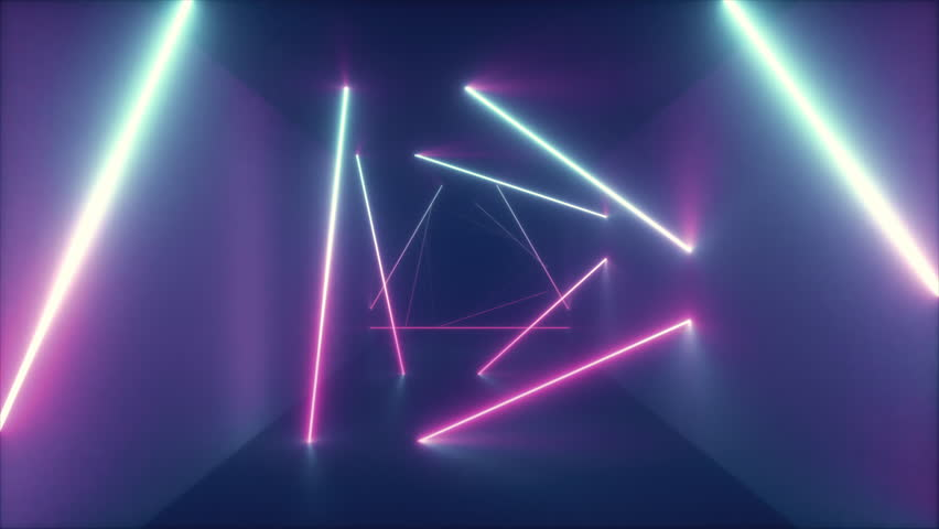 Abstract flying in futuristic corridor with triangles, seamless loop 4k background, fluorescent ultraviolet light, colorful laser neon lines, geometric endless tunnel, blue pink spectrum, 3d render | Shutterstock HD Video #1026447110