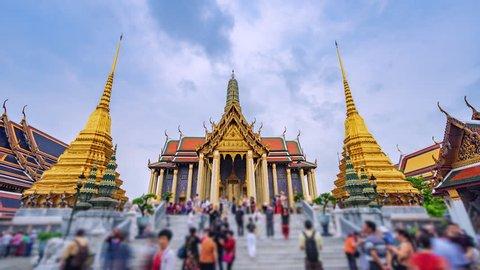 4K. Time lapse Tourists travel at Wat Phra Kaeo - Wat Phra Kaew or Temple of the Emerald Buddha in Bangkok City, Thailand
