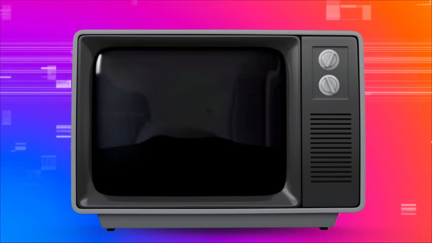 Digital animation of an old TV post showing a multi color globe against a purple, blue and orange background with TV sizzling animation | Shutterstock HD Video #1026473606