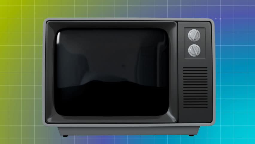 Digitally animated of old TV with pineapple on the screen against blue and green background | Shutterstock HD Video #1026476363