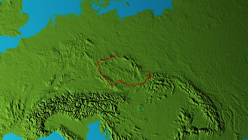 Graphic 3d animated earth showing the borders of the country Czech Republic and the capital Prague in 4K resolution at daytime | Shutterstock HD Video #1026481025