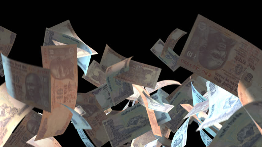 Falling India money banknotes  Video Effect simulates Falling Mixed India money banknotes with alpha channel (transparent background) in 4k resolution  | Shutterstock HD Video #10264838