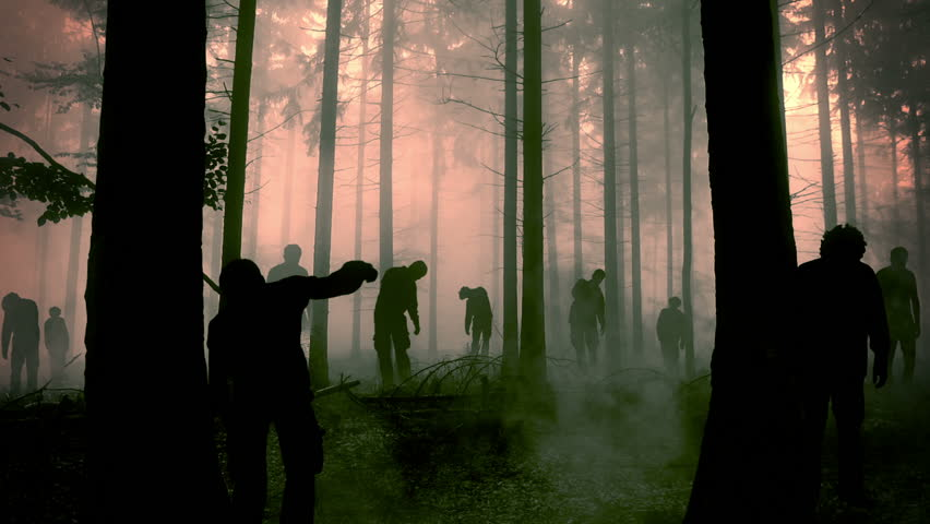 Flashy animation of zombies walking through the misty forest.