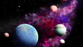 Space travelling loop video. 3d rendering. Planets over a glowing pink nebula. Eternal Galaxy.