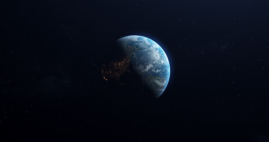 A slow rotation of the Earth, as ites from day to night. Earth rotating on its axis in black space and stars. High detailed, Realistic, Animation.