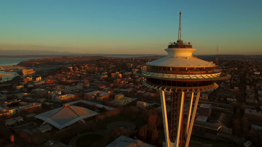 Seattle Aerial v49 Flying low besides and around Space Needle with cityscape views at sunrise. 3/15