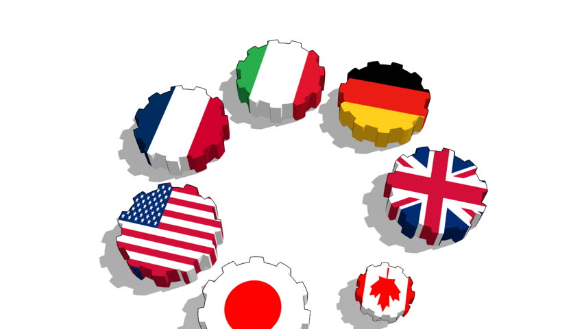 Great seven association of seven national economies members flags on gear | Shutterstock HD Video #10265240