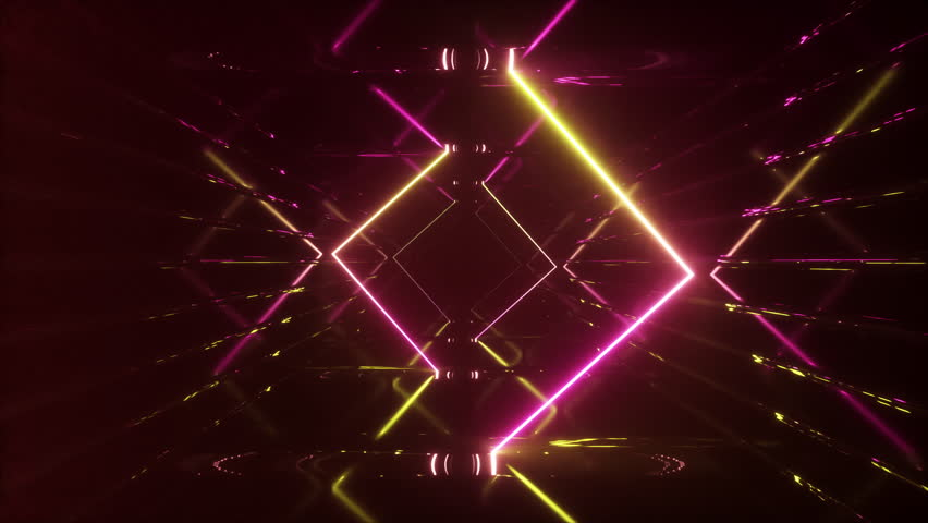 Abstract flying in futuristic corridor, seamless loop 4k background, fluorescent ultraviolet light, mirror lines laser neon lines, geometric endless tunnel, yellow pink spectrum, 3d render | Shutterstock HD Video #1026524246