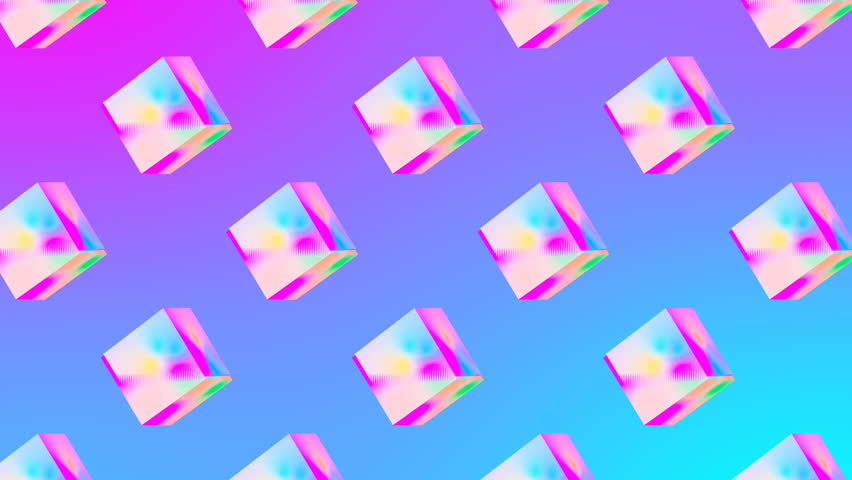 Gif animation art. 3d geometric object glitch effect abstraction pattern design