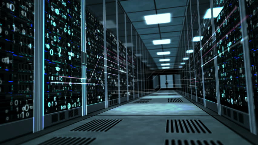 Camera rises in the corridor with server racks and dynamic digital holograms. 3D concept animation of cyber security, big data storage, database, artificial intelligence and information analizing.