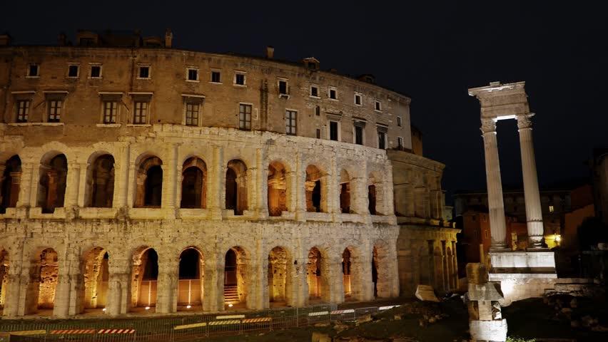 Glitch effect. Teatro Di Marcello. Rome, Italy | Shutterstock HD Video #1026555200