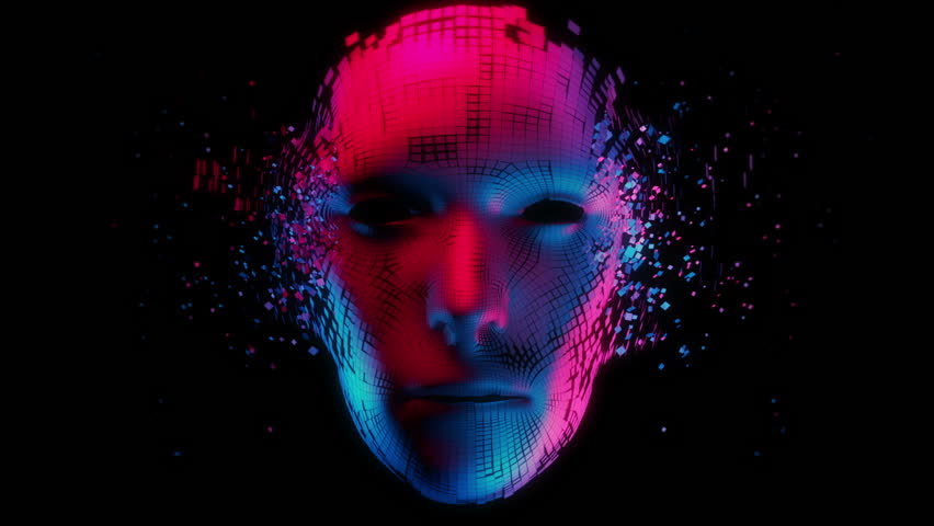 Birth of Artificial Intelligence - Motion Graphic Animation -Futuristic/Synthwave Style - Duotone Royalty-Free Stock Footage #1026559763
