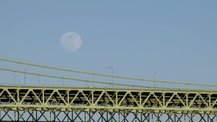 Traveling over tacoma narrows and full moon | Shutterstock HD Video #1026573791