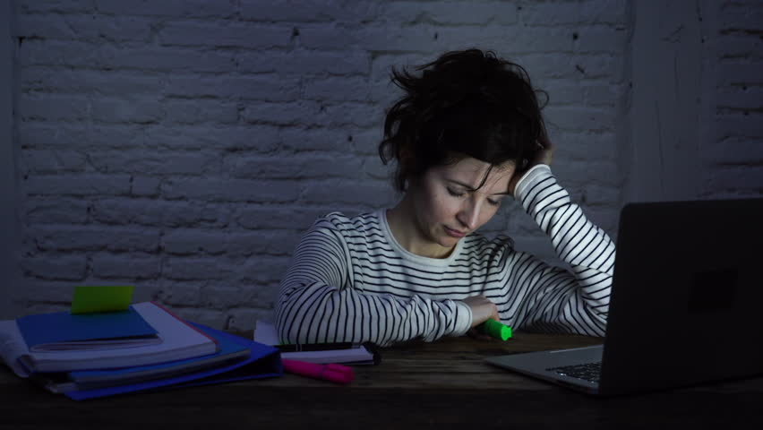 4k wide slider video of Overworked and tired female student falling asleep on the desk while working late at night on her computer laptop. In studying for final exams and overworked concept. | Shutterstock HD Video #1026578939