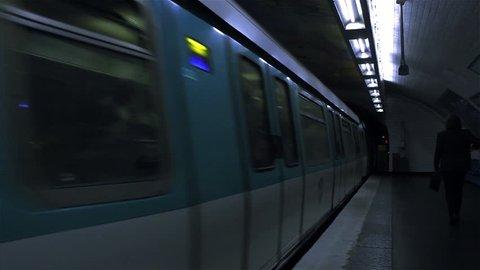 Paris / France - 20 October 2019: Subway Station in Paris, France.