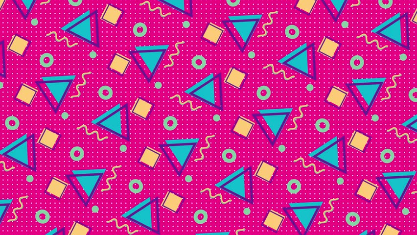 4K multicolor geometric shapes pattern in retro, memphis 80s - 90s style. Animated vintage abstract background. | Shutterstock HD Video #1026588383
