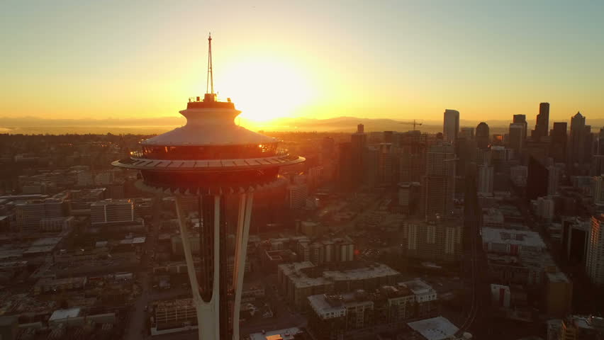 Seattle Aerial v47 Flying low besides and around Space Needle with cityscape views at sunrise. 3/15