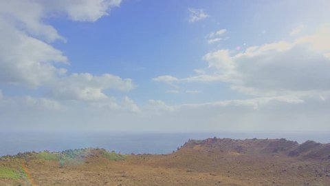 Scenic footage from the culdera of the Seonsang Volcano on Jeju, an island of South Korea.