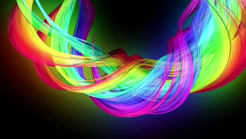 4k colorful looped animation of a rainbow colors tape with neon light moving in a circle as abstract background with lines and ribbons. Luma matte is included as alpha channel for compositing. 58 | Shutterstock HD Video #1026619826