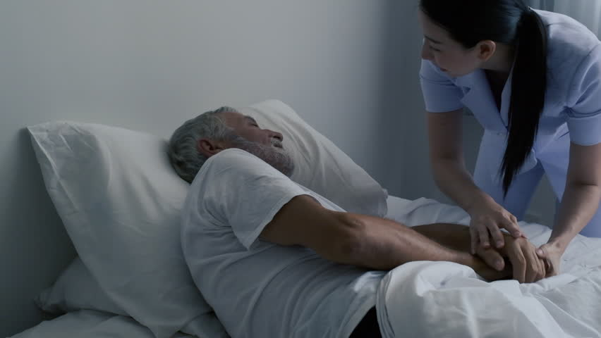 Grandfather or senior man sleeping got insomnia and nightmare on bed and nurse coming to senior man and wake him up in white room and grey curtain as slow-motion background | Shutterstock HD Video #1026631853