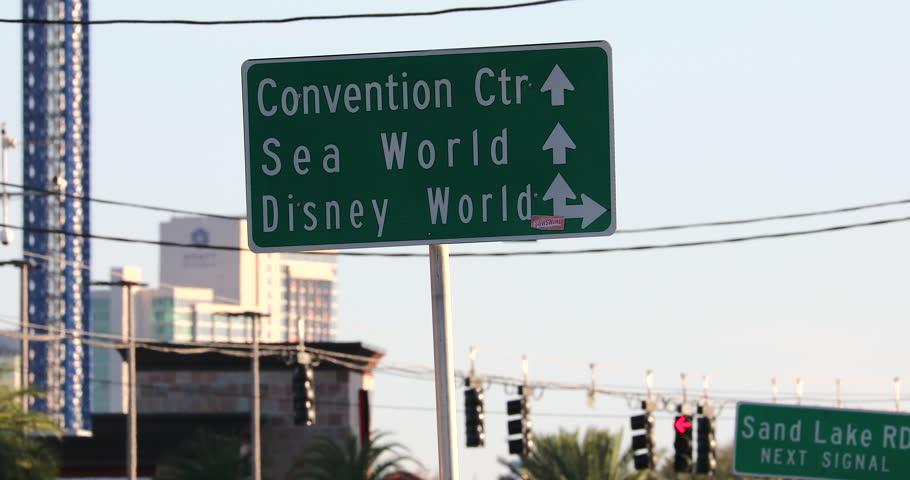 Orlando, Florida / USA, March 3, 2019: Attractions Signs At Orlando On The International Drive In Orlando, Convention Center, Sea World And Disney World, Central Florida, United States - DCi 4K