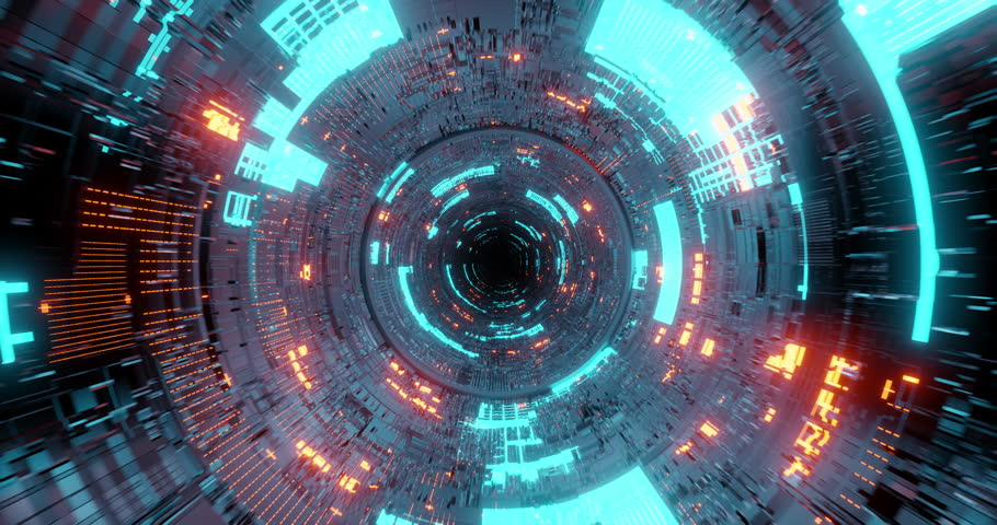 4K seamless loop flying into spaceship tunnel, sci-fi spaceship corridor. Futuristic technology abstract seamless VJ for tech titles and background. Motion graphic for internet, speed. 3D render | Shutterstock HD Video #1026647015