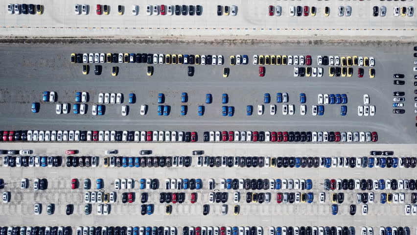 Aerial view of new cars parking for import and export | Shutterstock HD Video #1026651260