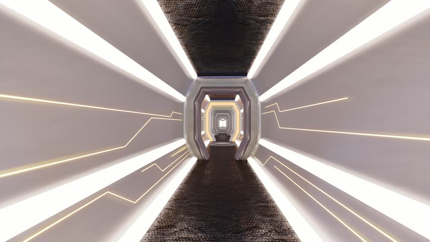 Futuristic Corridor ./Walkway in Spacecraft.-3d rendering.  | Shutterstock HD Video #1026655721