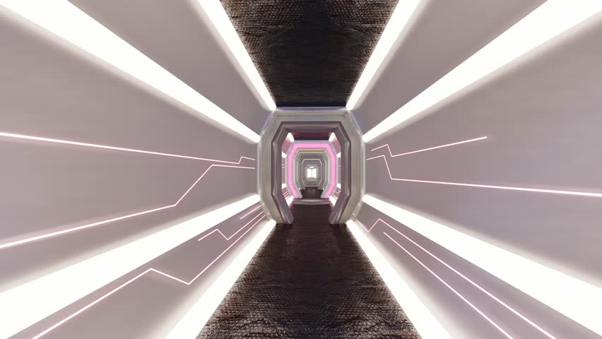 Futuristic Corridor ./Walkway in Spacecraft.-3d rendering.  | Shutterstock HD Video #1026655724