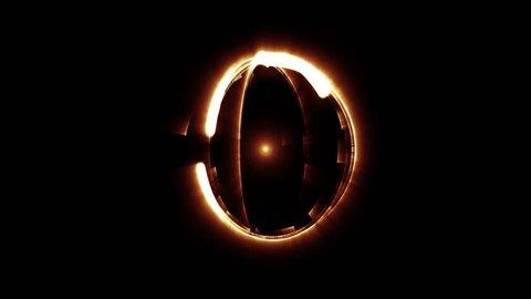 A closeup of a active orange rotating atom