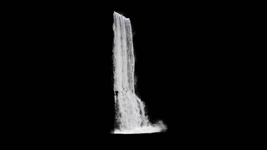 Waterfall texture seamless loop, 4k, isolated on black