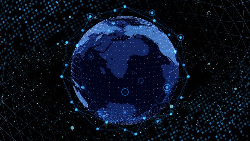 Earth on Digital Network background #1026712385